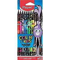 MAPED Color'Peps Monster-12 Coloriage Fun et Originaux-Couleurs Vives et Mine Résistante-Pochette de 12 Crayons Décorés…