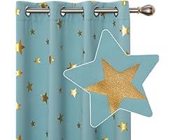 Deconovo Lot de 2 Rideaux Occultants Bleu Ciel 140x175cm Isolant Thermique avec Oeillets Rideau Salon Moderne pour Enfant
