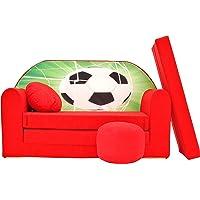 Pro Cosmo D3 Canapé lit d'Enfant avec Pouf/Repose-Pieds/Oreiller, Tissu, Rouge, 168x 98x 60cm