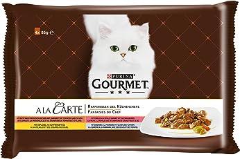 Gourmet a la Carte Raffinessen des Küchenchefs Katzenfutter, Sardine, Ente, Geflügel, Forelle, 48er Pack (12 x 4 x 85 g beutel)