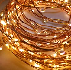 TONY STARK Copper String Battery Operated LED Lights, Fairy,Garden, Decoration Party Wedding Diwali Christmas Copper String Lights (100 LED Battery)