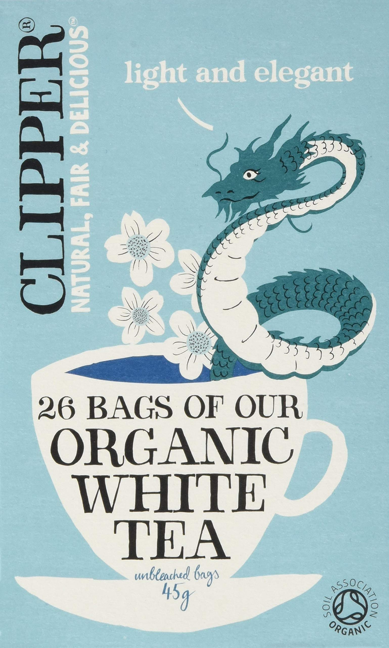Clipper organic white tea bundle (soil association) (white tea) (6 packs of 26 bags) (156 bags) (brews in 1-3 minutes)