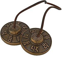 Handmade Brass Decorative Manjeera Pair Handmade Statue Musical and Traditional Instrument Indian Music (2 IN, Seven Symbol Golden)