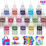 Anpro Tie Dye Kit,148pcs Tie-Dye DIY Set,16 colors of 100ML Dyes, Arts and Crafts for Kids and Adult,with Gloves, Rubber…