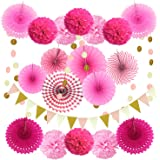 Zerodeco Feestdecoratie papieren pompons, hangende waaiers, driehoekige wimpels en hangende glitter dot papieren slinger voor
