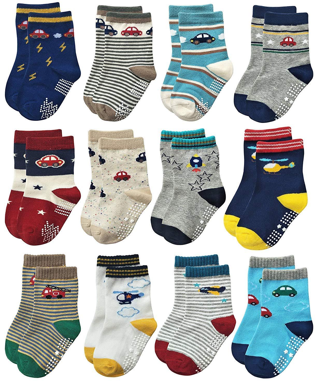 YANWANG 12 Pares de Calcetines de Algodón Antideslizantes Con Agarre para Bebés y Niños Pequeños 1