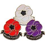 Spilla smaltata a forma di papavero bianco, viola, rosso, con confezione regalo per Lest We Forget Remembrance Day World War