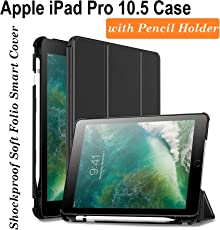 Oaky Shockproof Lightweight Soft TPU Folio Smart Back Cover and Trifold Stand with Built-in Apple Pencil Holder for iPad Pro 10.5 Inch 2017