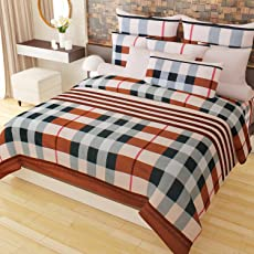 Home Candy Vivid 152 TC 3-D Double Bedsheet with 2 Pillow Covers - Checkered, Multicolour
