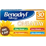 Benadryl Allergy One a Day 10 mg Tablets - Effective and Long Lasting Relief from Hay Fever, Pet, Skin and Dust Allergies - 3