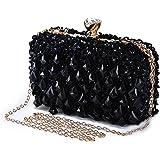 Abendtasche Damen Diamant Clutch Bag Kette Shiny Strass Handtasche Umhängetasche für Hochzeit Party - Schwarz(Dreieck Diamant