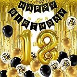 iZoeL 18 ans déco anniversaire Or noir, bannière joyeux anniversaire, ballon hélium chiffres 18 XXL, Rideau à Franges Or noir