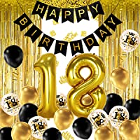 iZoeL 18 Ans déco Anniversaire Or Noir, bannière Joyeux Anniversaire, Ballon hélium Chiffres 18 XXL, Rideau à Franges Or…