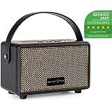 Bennett & Ross BB-820BK Blackmore Junior Version 2020 - Retro Bluetooth Lautsprecher in Lederoptik mit 5200 mAh Akku - Vintage Speaker mit 20W - MicroSD-Eingang mit MP3-Player - Aux-in - Schwarz