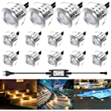 LEDMO Focos LED Empotrables de Suelo para Exterior, 14PCS Focos Empotrables Techo Impermeable IP67, 3000K, Lámpara de Subterr
