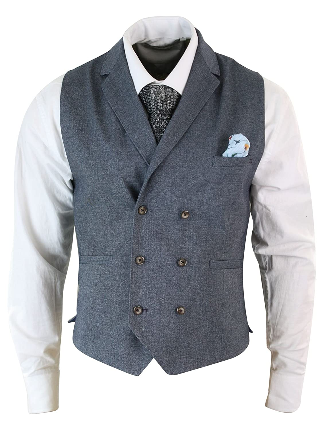 1900s Edwardian Men's Suits and Coats Mens Vintage Peaky Blinders Double Breasted Waistcoat Tweed Check Smart Casual £34.99 AT vintagedancer.com
