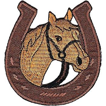 braun Patches Aufbügeln Pferd Tier 7.6 x 8.6 cm Aufnäher // Bügelbild