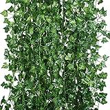 Houda konstgjord växt murgröna-krans, gröna blad, för upphängning kök, kontor, bröllop, väggkläder, dekoration, 12 stycken (2