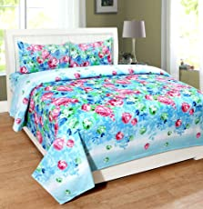 Homefab India 140 TC 3D Floral Double BedSheet with 2 Pillow Cover - MultiColor