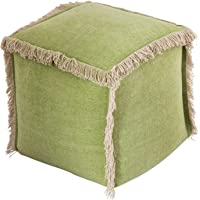 casamia Pouf d'assise en maille velours - Plusieurs types/couleurs et dimensions : 40 x 40 cm - Vert pierre