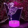 Fille de ballet Veilleuse pour Enfants, Lumières 3D 16 Changement de Couleur Lampe de Nuit avec Tactile et Télécommande, Cade