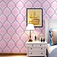 Wolpin Wall Sticker Wallpaper Pink Damask Large Self Adhesive (45 cm x 10m) Decal Living Room Hall Home Interior…