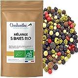 Chabiothé - Poivre à 5 Baies mélange Bio 100g - mélangé et conditionné en France - sachet biodégradable