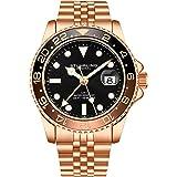 Stuhrling Original GMT, orologio da uomo in acciaio inox, movimento al quarzo svizzero, doppio orario, datario rapido con cor