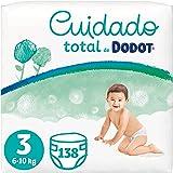 Dodot Pañales Bebé Cuidado Total Talla 3 (6-10 kg), 138 Pañales, Suave Protección de la Piel de Dodot con Ingredientes de Ori