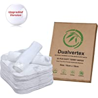 25 Bamboo Terry Washable & Reusable Cloth Organic eco Friendly Biodegradable & Chemical Free Baby Wipes/Face Wipes/Hand Wipes - < Upgraded Version : No More Shedding >