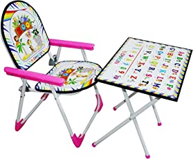 Tender Care Foldable Multipurpose Table Chair Toy Set for Kids (Pink).