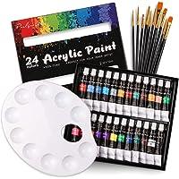 35 Pezzi Acrilici Set Pittura per Bambini e Principianti - 24 Colori (12 ml) Colori Acrilici Anti-sbiadimento con 10pz…