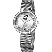 Yosimi, orologio da donna, impermeabile, analogico, al quarzo, cinturino in pelle e acciaio inox