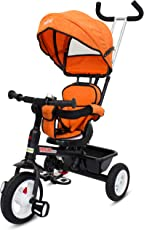 Baybee Mario Sportz - The Stylish Plug and Play Baby Tricycle with Canopy and Parent Control (Now with Rubber Wheels) ( Orange )