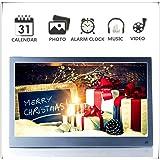 Metall 12 Zoll Digitaler Bilderrahmen Display IPS 1920 * 1080 HD-Video Wiedergabe,Slim Elektronischer Bilderrahmen mit Fernbedienung,Zufallswiedergabe,MP3-und Video-Wiedergabe,Schönes Geschenk