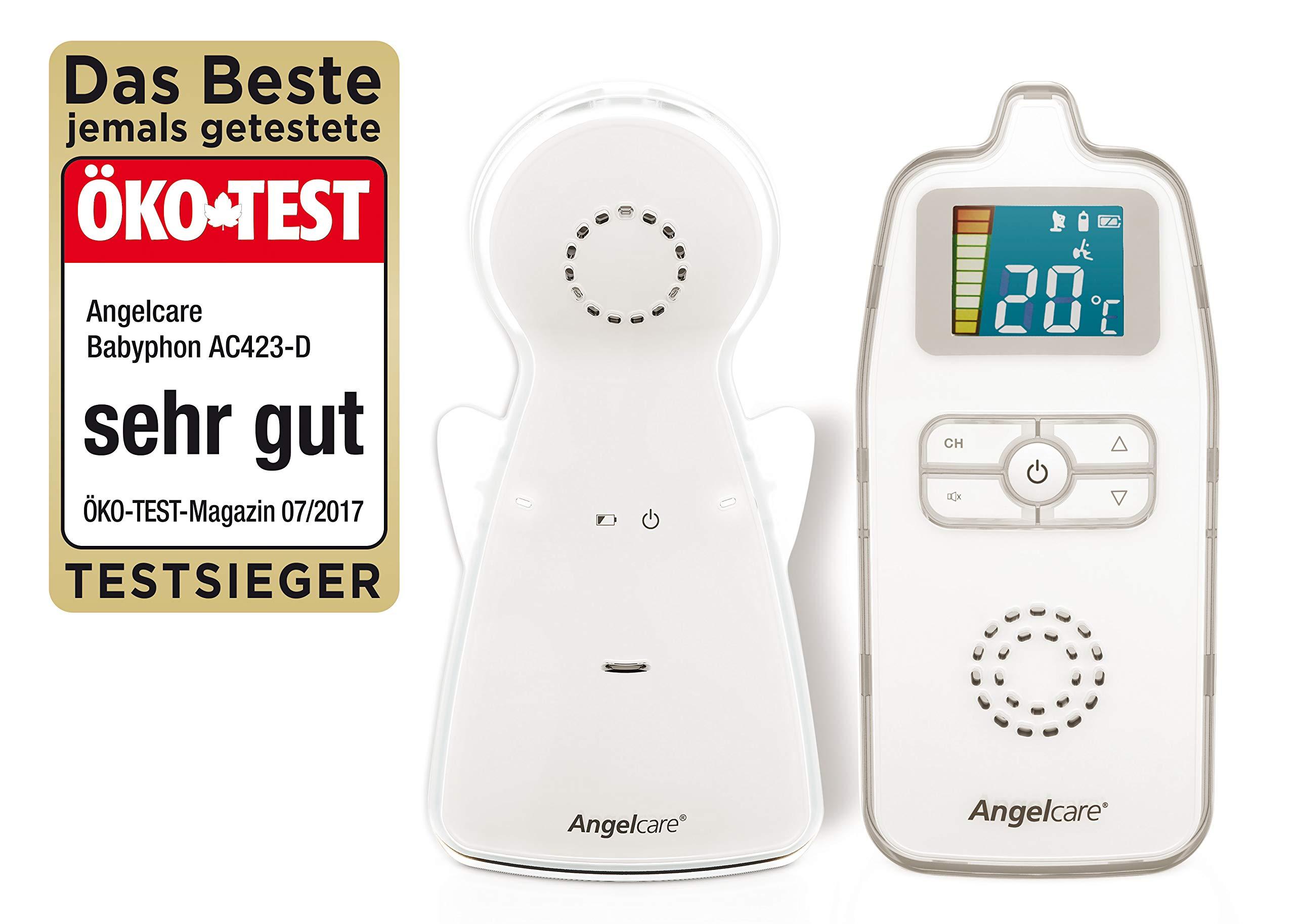 Angelcare AC423-D Audio Babyphone, Reichweite bis 250 m, Nachtlicht, weiß