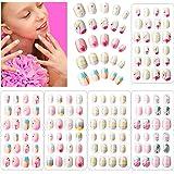 120 Uñas Postizas de Niñas a Presión Puntas de Uñas Artificiales Postizas Cortas de Cubierta Completa de Niños para Decoració
