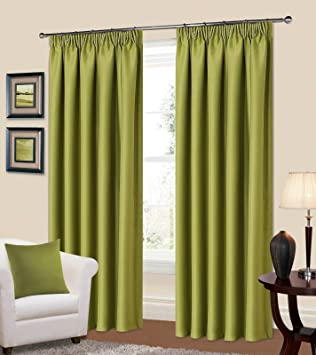 Green Curtains amazon green curtains : Kalli Ready Made Lime Green Curtains Pencil Pleat Tape Top ...