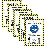 5 x hoogwaardige stickers met een afstand van 1,5 meter en een afstand van 1,5 meter en neusbescherming in A4, 21 x 29,7 cm,