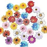 Lot de 50 boutons en bois à 2 trous en forme de chrysanthème colorés pour loisirs créatifs 26 mm