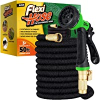 """Flexi Hose Upgraded Expandable Garden Hose, Extra Strength, 3/4"""" Solid Brass Fittings - The Ultimate No-Kink Flexible…"""