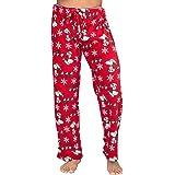 Peanuts Snoopy - Pantalones de peluche con diseño de Papá Noel y copos de nieve