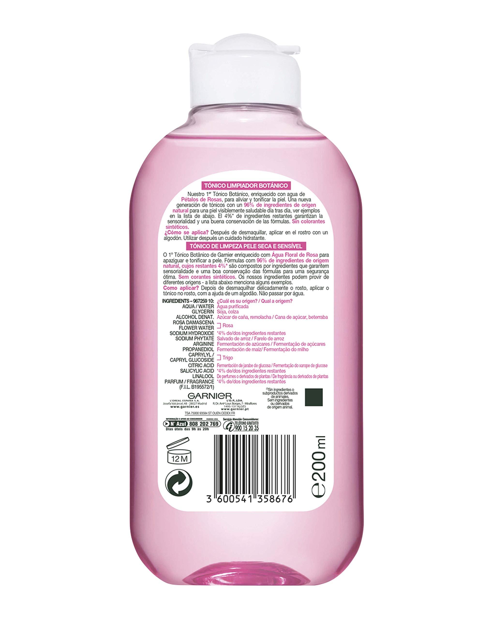 Garnier Skin Active Tónico Suave Essentials para Pieles Secas y Sensibles – 200 ml