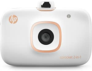 HP Sprocket 2 in 1, Fotocamera + Stampante Fotografica Istantanea per foto formato 5,1 x 7,6cm, Bianco