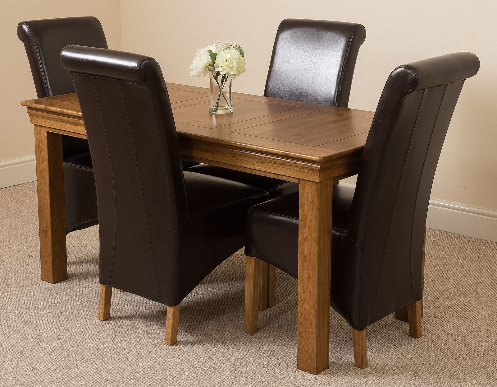 81onzBixUhL - French Rustic Solid Oak 150 cm Dining Table with 4 or 6 Montana Dining Chairs