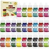 Colorante alimentario 24*6ml, Colorante Alimentario Alta Concentración Liquid Set para Colorear los Bebidas Pasteles Galletas