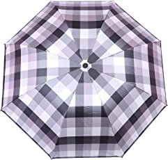 FabSeasons Checks Digital Printed UV Protected 3 Fold Manual Umbrella for All Seasons(Grey)