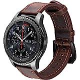 iBazal Bracelet Gear S3 Frontier Classic 22mm Cuir Bandes Compatible avec Samsung Galaxy Watch 3 45mm/Galaxy Watch 46mm Marro