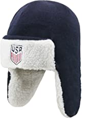 OTS World Cup Soccer United States Adult Unisex World Cup Soccer United States Breck Sherpa Hunter Knit Cap, One Size, Navy