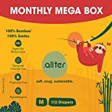 Allter Organic Bamboo Diapers, Medium Size,M 112 Count- Super Dry, Quick Absorb and eco Friendly 5-8 Kgs